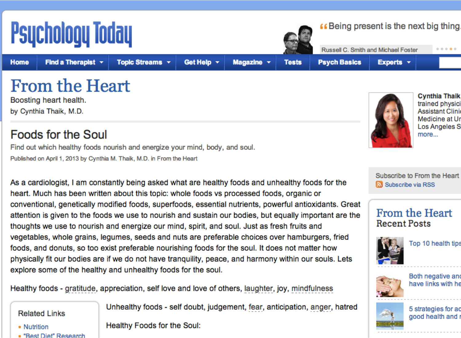 Psychology Today article by Dr. Cynthia Thaik